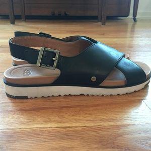 Ugg Kamile Black Leather Sandals